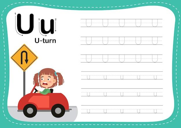 Exercice de tour de lettre de l'alphabet avec une fille