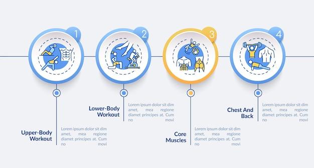 Exercice de types modèle infographique vectoriel visualisation des données en 4 étapes. diagramme chronologique du processus.