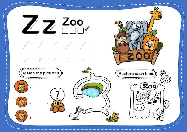 Exercice de zoo de lettre alphabet avec vocabulaire de dessin animé