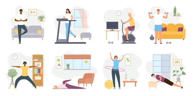 Exercices à domicile. les gens méditent, font du yoga, du sport et du fitness à l'intérieur. les hommes et les femmes actifs s'entraînent sur un ensemble de vecteurs de vélo d'exercice et de tapis roulant. faire des étirements et faire de l'exercice avec des haltères