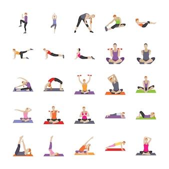 Exercices de fitness icônes plates