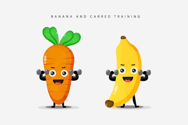 Exercices d'haltères longs avec des bananes et des carottes