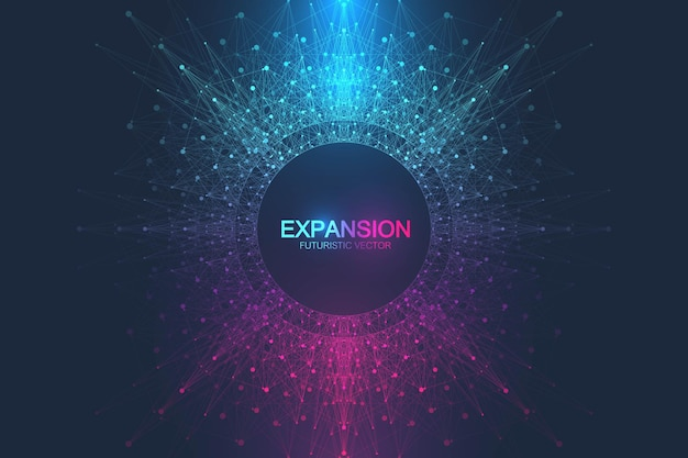 Expansion de la vie. fond d'explosion colorée avec illustration de ligne et points connectés