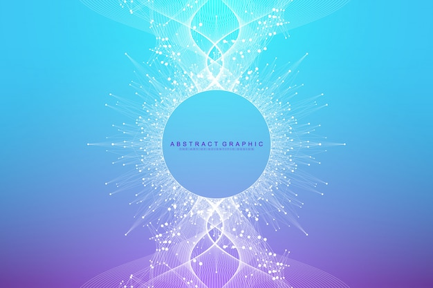 Expansion de la vie. fond d'explosion colorée avec ligne connectée et points, flux d'onde. visualisation technologie quantique. explosion de fond graphique abstrait, rafale de mouvement, illustration.