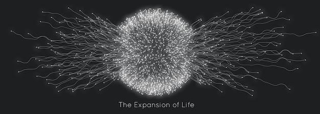 Expansion de la vie. fond d'explosion de sphère.