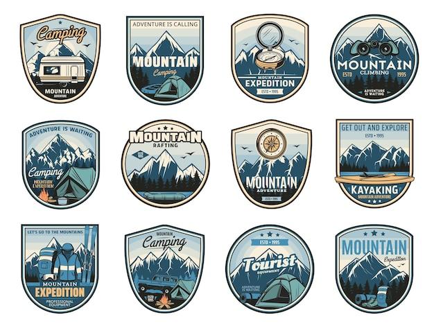 Expédition de camping en montagne, icônes d'aventure de voyage