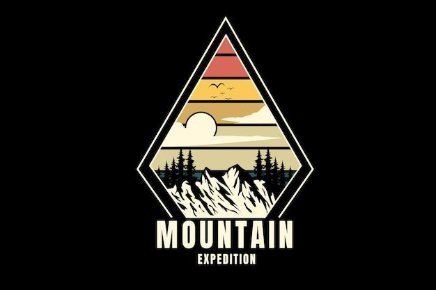 Expédition en montagne couleur orange crème et vert