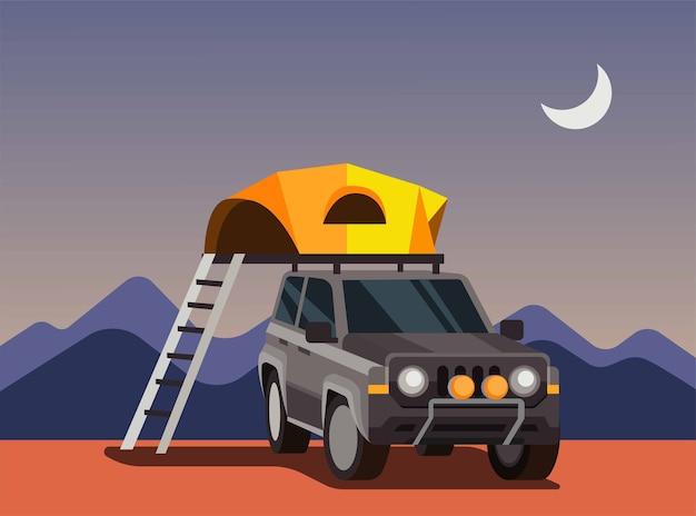 Expédition avec voiture suv, tente de camping automatique, tente sur le toit de l'illustration de la voiture