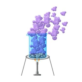 Expérience chimique. sublimation de l'iode.