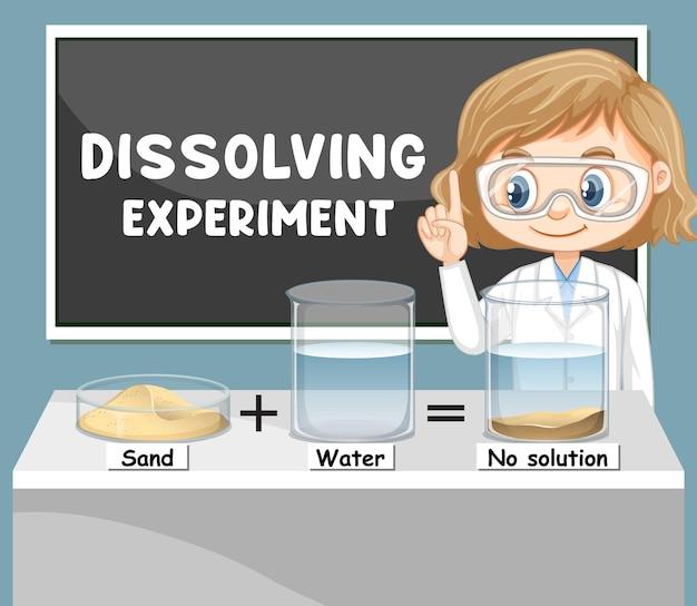 Expérience de dissolution avec un personnage de dessin animé pour enfants scientifiques