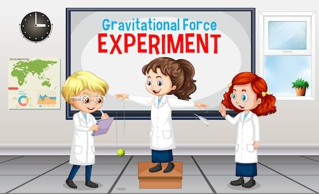Expérience de la force gravitationnelle avec un personnage de dessin animé pour enfants scientifiques