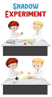 Expérience d'ombre avec le personnage de dessin animé d'enfants scientifiques