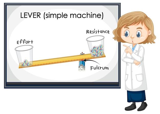 Expérience Scientifique De Leviers Avec Un Personnage De Dessin Animé Pour Enfants Scientifiques Vecteur gratuit