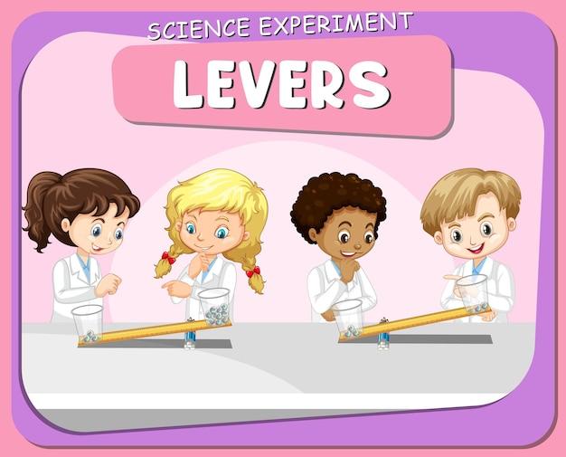 Expérience scientifique de leviers avec un personnage de dessin animé pour enfants scientifiques