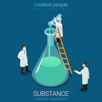 Expérience scientifique nouvelle découverte de substance isométrique plat