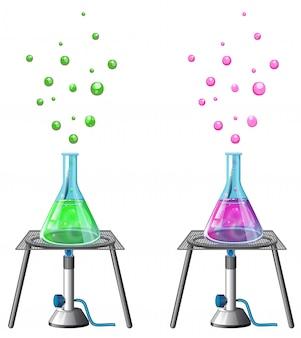 Expérience scientifique avec des produits chimiques