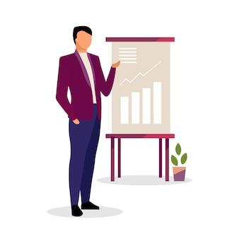 Expert en illustration vectorielle de présentation. économiste, homme d'affaires, gestionnaire montrant les taux de croissance à bord d'un personnage isolé. analyste financier de dessin animé présentant la visualisation des données dans le rapport