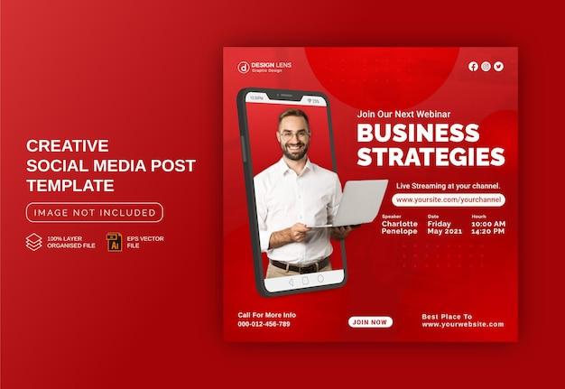 Expert en stratégies commerciales modèle de publication de bannière publicitaire instagram sur les médias sociaux