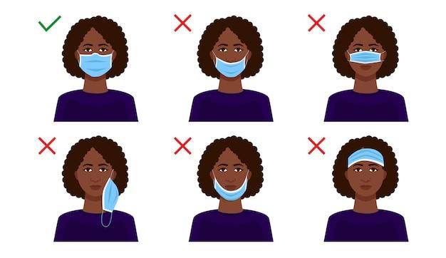 Explication sur la façon de porter correctement un masque.