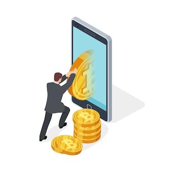 Exploitation de bitcoin et échange de crypto-monnaie