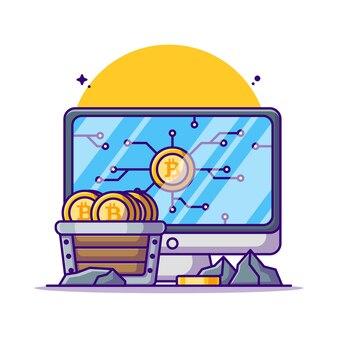Exploitation minière illustrations de dessin animé bitcoin