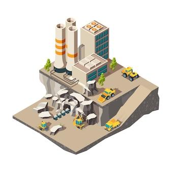 Exploitation minière isométrique. composition des techniques de construction de carrière de production de l'industrie des mines de roche