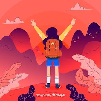 Explorateur dessiné à la main avec fond de sac à dos