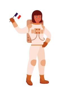 Explorateur d'univers d'astronaute de femme tenant le drapeau sur le blanc