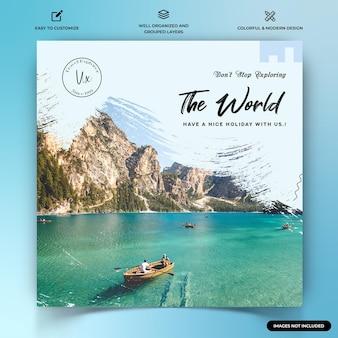 Explorateurs de voyages instagram post modèle de bannière web vecteur premium