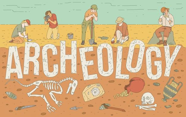 Exploration archéologique d'illustration d'artefacts historiques.