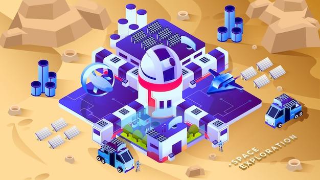 Exploration spatiale - illustration isométrique