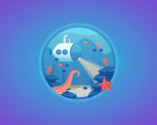 Exploration de la vie en eau profonde. fond de mer. illustration de dessin animé.
