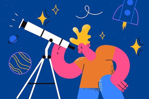 Explorer le cosmos dans le concept de l'enfance