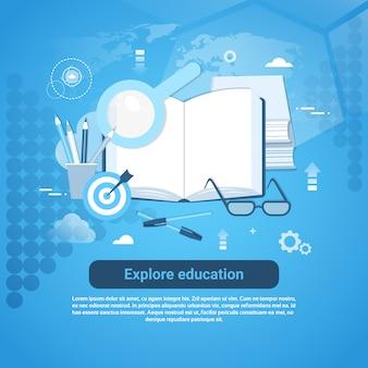 Explorer l'éducation en ligne concept web banner with copy space
