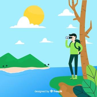 Explorer avec fond de sac à dos