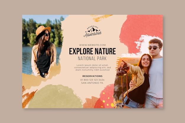 Explorez la bannière horizontale de randonnée dans la nature