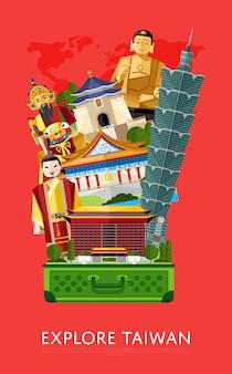 Explorez la bannière de taiwan avec des attractions célèbres