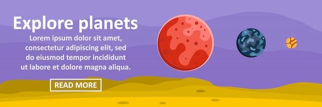 Explorez le concept horizontal de bannière modèle de planètes