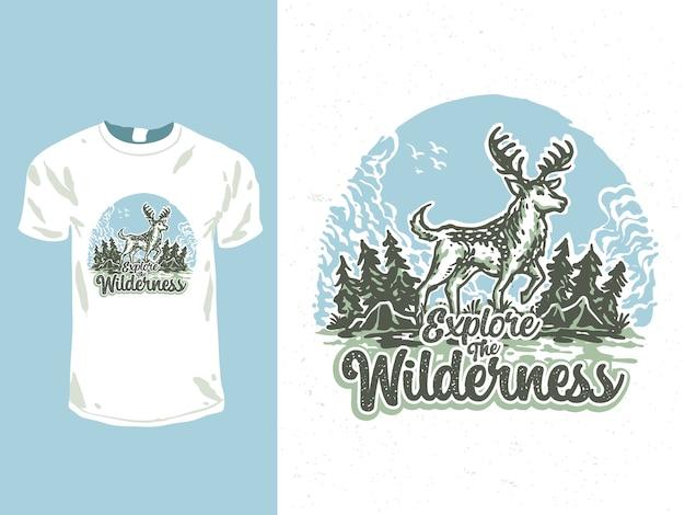 Explorez l'illustration de conception de t-shirt de cerf sauvage