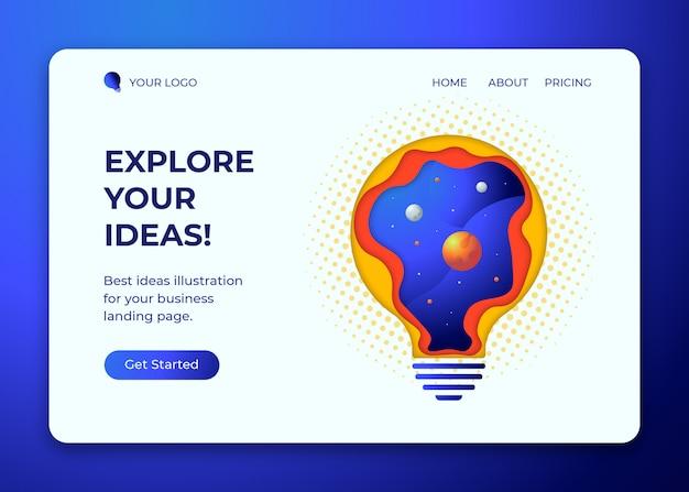Explorez la lampe à idées avec de l'espace à l'intérieur, modèle d'illustration de la page de destination, style de coupe de papier