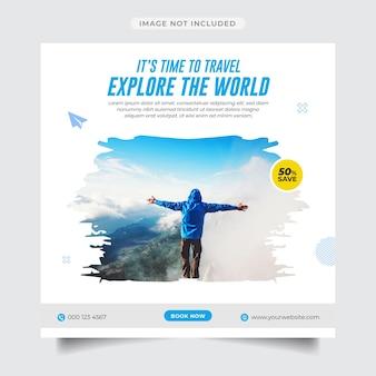 Explorez le modèle de publication et de bannière sur les médias sociaux des agences de voyages mondiales