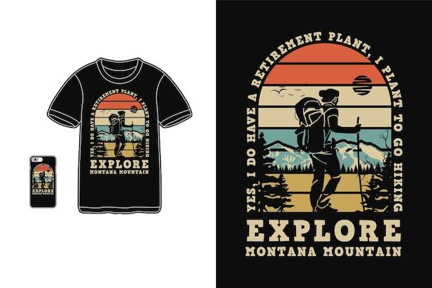 Explorez La Montagne Montana, Style Rétro Silhouette Design T-shirt Vecteur Premium