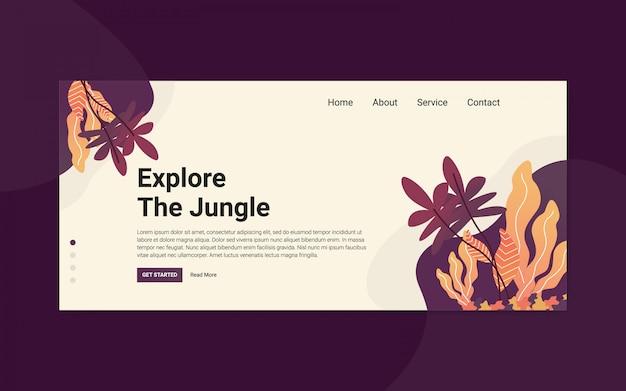 Explorez la page d'atterrissage dans la jungle pour le site web de l'événement out door