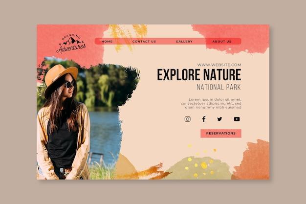 Explorez la page de destination de la randonnée dans la nature