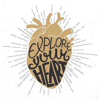 Explorez votre cœur dans un cœur doré anatomique