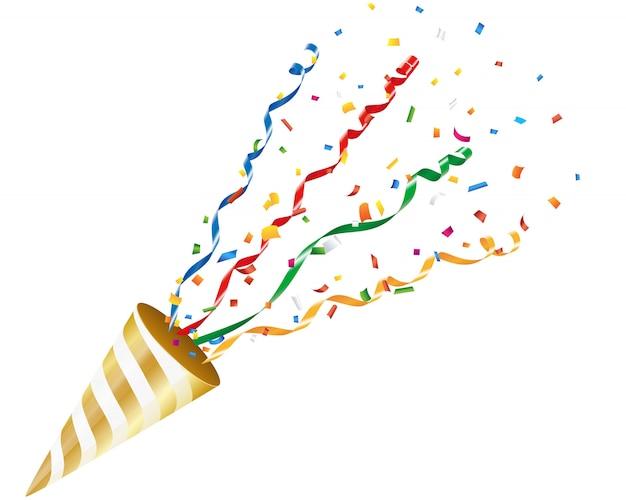 Exploser parti popper avec confettis et streamer sur fond blanc