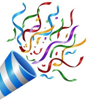 Exploser popper avec des confettis colorés isolés