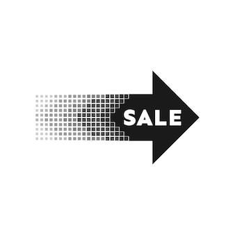 Explosion abstraite. bannière de flèche de vente noire. illustration vectorielle