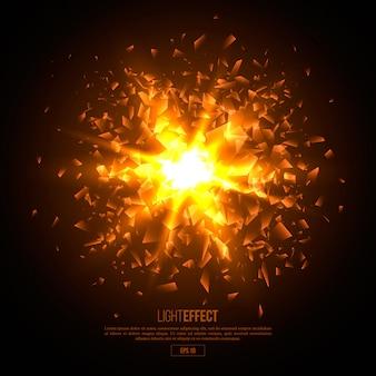 Explosion abstraite illuminée en 3d, particules incandescentes.