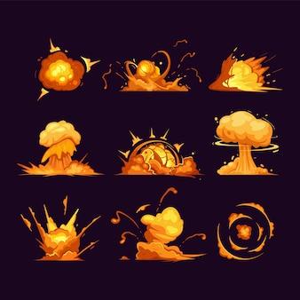 Explosion d'une bombe de dessin animé. explosions de dynamite, nuage de dynamite rouge de danger, bombe atomique. icônes d'explosion isolées, définies. effets de boom comique de dessin animé avec de la fumée, des flammes et des particules.